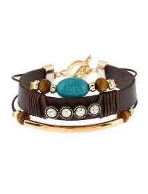 Trendy Leather Multilayer Bracelet for Women Rhinestones Turquoise Beads Cuff Bangle Boho Jewelry