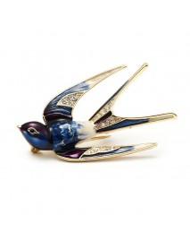 Elegant Swallow Bird Brooch Pins Colorful Enamel Rhinestone Ethnic Brooches Costume Jewelry