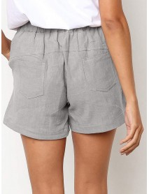 Solid Color Drawstring Waist Pocket Casual Shorts For Women