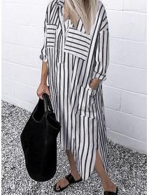 Pocket Lapel Button Down Long Sleeve Irregular Hem Casual Shirt Dress