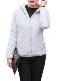 Casual Solid Thick Fleece Hooded Women Short Coats