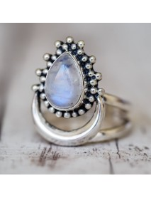 Retro Finger Ring Antique Silver Vintage Moonlight Gem Ring Unique Jewelry for Women Men