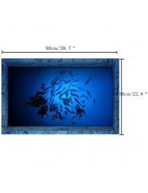 PAG 3D Bathroom Anti Slip Sea Fish Pattern Waterproof Floor Sticker Washable Shower Room Decor