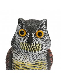 Artificial Resin Owl with Rotating Head Outdoor Hunting Decoy Garden Yard Landscape Ornament