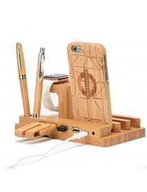 Bamboo Wood 4 Port USB Charging Dock Station Stand Holder For Smart Phone/Tablet/iPhone/iPad/Apple Watch
