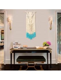 18'' Beige Blue Handmade Macrame Wall Hanging Cotton Tapestry Bohemian Art Decor