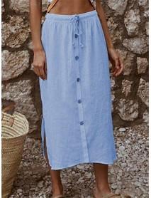 Pure Color Drawstring Waist Button Side Split Skirts