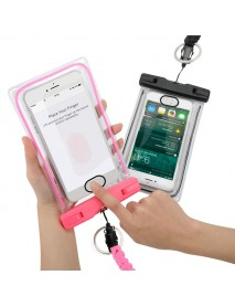 Fingerprint Identification Unlock Luminous Edge IPX8 Waterproof Phone Bag for Phone Under 6 Inches