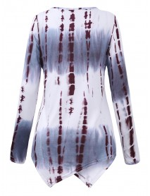 Casual Loose Long Sleeve Ink Print Irregular T-shirts