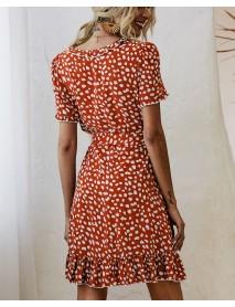 Bohemian Ruffle Wrap Animal Print Belted V-neck Short Sleeves Dress