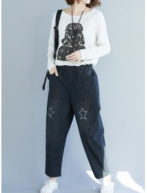 Casual Star Embroidery Stripe Elastic Waist Pants With Pockets