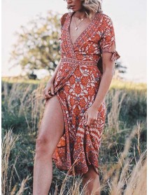 Bohemian Floral Print V-neck Tie Waist Short Sleeve Summer Midi Dress