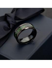 Ethnic Solid Carbon Fiber Finger Rings Vintage Red Dragon Pattern Finger Ring Jewelry For men