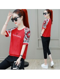 Casual Sportswear Suit Female Season New Style Fashion Loose Short Sleeve Cropped Trousers Two Sets