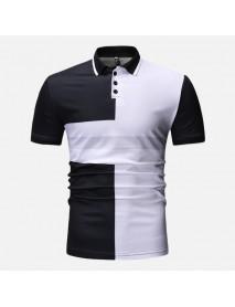 Men Color Block Muscle Fit Short Sleeve Golf Shirt