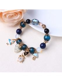 Bohemia Crystal Glass Beaded Bracelet Heart Clock Charm Bangles Hand Chain for Women