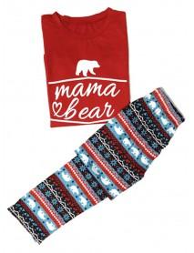 Bear Print Christmas Parent-Child Long Sleeve Home Tracksuit Set