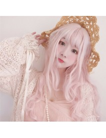 Long Pink Wigs with Bangs Water Wave Heat Resistant Wavy Hair Synthetic Wig for Women African American Lolita Cosplay