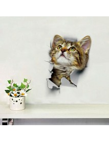 3D Cute Cat Wall Sticker Toliet Stickers  Decorations Creative Animal Wall Stickers