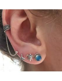 Ethnic Antique Silver Ear Stud Earring Flower Round Chain Earrings Elegant Jewelry for Women