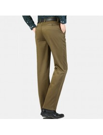 Men's Buiness Casual Loose Thick Cotton Suit Pants Pure Color Middle-aged Trousers