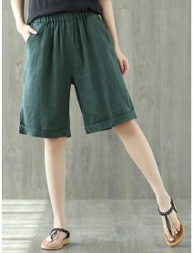 Pure Color Elastic Waist Loose Cotton Linen Wide Leg Shorts