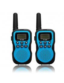 2pcs HK-588 0.5W UHF Auto Multi-Channels Mini Radios Walkie Talkie Built-in Flashlight Blue