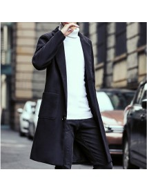 Autumn Winter Fashion Men's Warm Thick Long Windbreaker Casual Solid Color Slim Woolen Jacket Coat