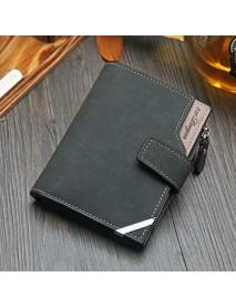 14 Card Slots Men PU Leather Vertical Tri-fold Wallet Multifunctional Leisure Card Holder