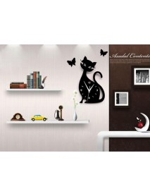 Acrylic Cute Cat Wall Clock Creative Personality Black Cat Wall Clock Simple Fashion Living Room Creative Wall Clock