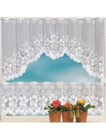 2PCS Lace Coffee Cafe Window Tier Curtains Kitchen Dining Room Home Decor Set