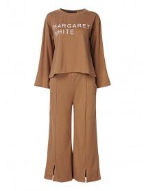 Casual Letters Print Sweatshirt Suit Wide Leg Pants Loose Women Sets