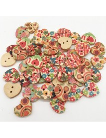 100 PCS Heart Shape Wooden Button Mixed 2 Hole Natural Sewing Children Handmade Clothes Buttons