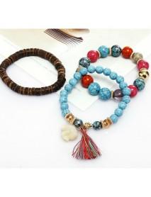 Bohemian Multi-Layer Wooden Tassels Bracelet Cutely Elephant Beaded Bracelet