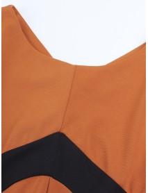 Elegant Patchwork Long Sleeve High Waist Package Hip Women Dress