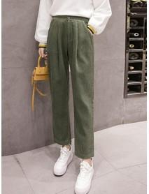 Casual Women Corduroy Loose Solid Color Harem Pants