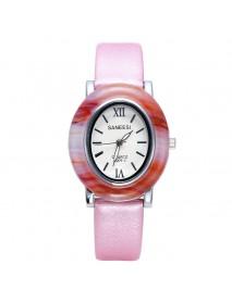 SANEESI Luxury Lady Watch Oval Imitation Jade Dial Leather Band Women Dress Clock Wristwatch