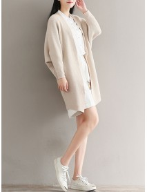 Casual Women Batwing Sleeve Pure Color Open Front Knit Cardigan