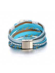 Bohemian Multilayer Crystal Beads Bracelets Braided Rope Chain Bracelet Ethnic Jewelry for Women