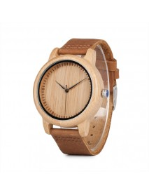 BOBO BIRD C-A15 Unisex Wrist Watch Casual Style Leather Strap Wood Quartz Watch