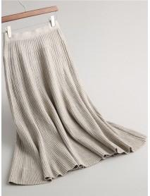 Pure Color Women Elastic Waist Knit Skirt