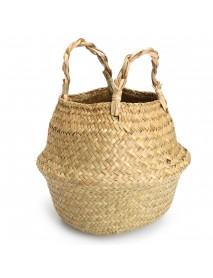 1/2 Pcs Rattan Belly Storage Baskets Laundry Holder Plants Flower Pot Home Decor