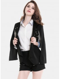 Women Solid Casual Split Business Shawl Blazers