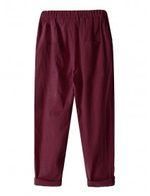 Casual Women Pockets Straight Elastic Waist Harem Pants