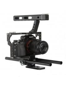 VELEDGE VD-07 Portable Aluminum Camera Cage Rig Stabilizer Top Handle Grip for DSLR Camera DV Mount