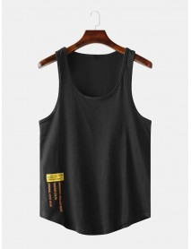 Men Casual Letter Print Solid Color Crew Neck Sleeveless Tank Tops