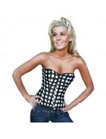 Sexy Women Satin Lace Up Dots Corset Bustier