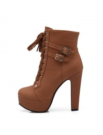 Plus Size Women Stiletto Heel Buckle Strap Ankle Boots