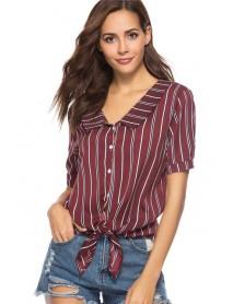 886 European And American Season V-neck Short-sleeved Striped Shirt Women's Shirt
