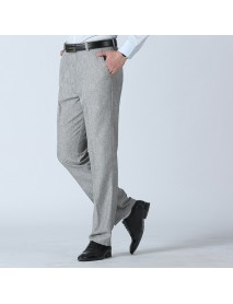 Men's Summer Breathable Linen Casual Pants Solid Color Middle Aged Loose Straight Trousers